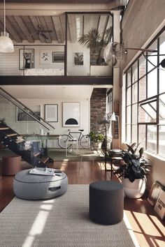 Inspired Image of Loft Home Design. A great deal of lofts have brick walls and therefore it could be somewhat difficult to hang any form of picture or mirror. A loft is not going to have. Loft Design, Deco Design, Modern Design, Modern Decor, Modern Rustic, Contemporary Design, Rustic Wood, Design Design, Eclectic Decor