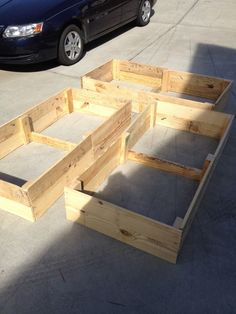 Raised garden beds made from pallets