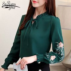 plus size women tops floral embroidery chiffon blouse shirt fashion womens tops and blouses 2019 long sleeve. title: plus size women tops floral embroidery chiffon blouse shirt fashion womens tops Chemise Fashion, Fashion Blouses, Floral Tops, Fashion Pattern, Plus Size Women's Tops, Blouse Styles, Fashion Outfits, Womens Fashion, Fashion Usa