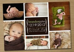 Baby Announcement: Baby Boy, Baby Girl Printable Birth Announcement (Brianna collage) on Etsy, $19.14 CAD