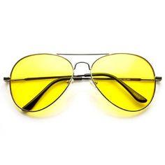Classic Metal Frame Yellow Tinted Night Driving Aviator Sunglasses fb5500fb26
