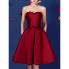 Choies Wine Red Sweetheart Bowknot Waist Lacing Back Strapless Prom... ($47) ❤ liked on Polyvore featuring dresses, red, strapless skater dress, lace up prom dresses, strapless sweetheart dress, sweetheart prom dresses and strapless dresses