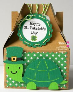 Helen @ Twine It Up! with Trendy Twine decorated a Kraft Gable Box with a cute turtle,  St. Patrick's Day Punch and Go Printable and  Limeade Trendy Twine. http://shop.anniespaperboutique.com/