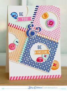 Be You & Be Awesome Card by Betsy Veldman for Papertrey Ink (January 2014)