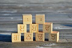 Punjabi alphabet set made of natural pine wooden blocks www.etsy.com/shop/KlikKlakBlocks