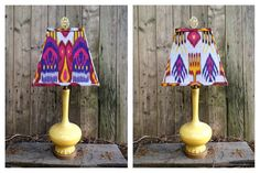 Yellow glass lamp topped with a handmade ikat lampshade.
