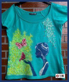 Camisetas para mujer pintadas a mano. Manga larga, corta o tirantes. Hasta la talla 60. www.facebook.com/talentopor2 www.talentox2.es