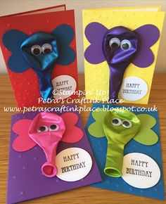 Petra's CraftInk Place: Elephant Balloon Birthday Cards