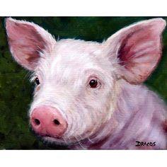 Pig Art Print of Original Painting by Dottie Dracos, Piglet Portrait,on Dark Green