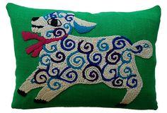 Crewel Lamb Pillow on OneKingsLane.com