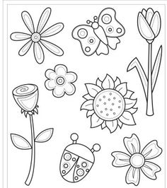 Free 8 Digi Stamps Flowers Lots of free digi stamps! Flower Pattern Drawing, Flower Patterns, Drawing Flowers, Flower Outline, Digi Stamps Free, Digital Stamps, Colouring Pages, Coloring Books, Shrink Art