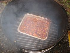 Smoked baked beans Smoke while smoking pork or ribs.  Use Pioneer Woman recipe?
