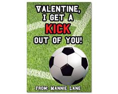 Cool Soccer valentines day cards, for your sports enthusiast or little kicker! Perfect to hand out to classmates and friends on Valentines Day. Your child will love this all star valentine set of soccer ball on a corner kick!   →VALENTINE CARD DETAILS ★Each Valentine card is 2.5x3.5