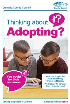 Adoption events in Cumbria offer chance to find out more https://www.cumbriacrack.com/wp-content/uploads/2018/01/adopting-events-cumbria.png Cumbria County Council is inviting people in and around Cumbria and thinking about adopting to an event.    https://www.cumbriacrack.com/2018/01/08/adoption-events-cumbria-offer-chance-find/