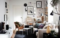 Cinco en uno Simple Living Room, Home Living Room, Living Room Decor, Bedroom Decor, Small Living, Living Room Trends, Living Room Colors, Living Room Designs, Catalogue Ikea
