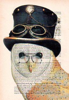 Steampunk Owl Art Print Art Giclee Print Acrylic by Cocodeparis, $9.00