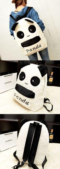 So so cute panda backpack. #Lovely #Plush #Cartoon #Panda #Backpack #Schoolbag