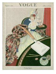 Vogue Cover - August 1921 by George Wolfe Plank