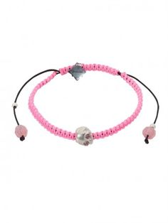 Baby Skull & Braided Neon Cord Bracelet with Pink Tourmaline eyes by Suicide Blonde