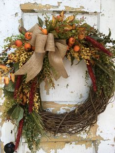 Fall Wreath for Front Door, Rustic Fall Wreath, Autumn Wreath, Front Door Wreath by FlowerPowerOhio on Etsy