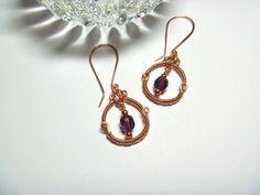 Copper and Czech Glass Hoop Dangle Earrings