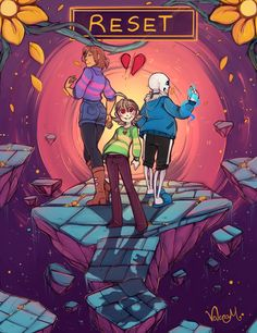 "Info Chronotale : Frisk continuously keeps resetting because they believe the ""happy ending"" is the end of their existence as Chara convinced them of that. Chara is Frisk ""sibling"" (liessss). When Frisk decides they won't reset anymore, Chara take..."