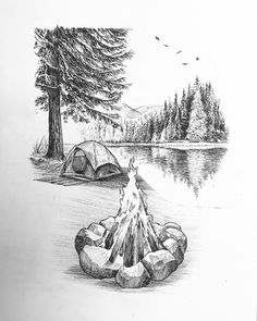 New Moon Movie, Drawing Sketches, Art Drawings, Chicano Style Tattoo, Camping Drawing, Moon Drawing, Sketching Tips, Amazing Adventures, Art Club