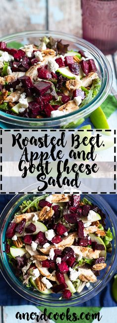 Roasted Beet, Apple, and Goat Cheese Salad - A Nerd Coo - Gemischter Salat Einfach Beet Goat Cheese Salad, Roasted Beet Salad, Beet Salad Recipes, Roasted Beets Recipe, Whole Food Recipes, Healthy Recipes, Feta Salat, Goat Cheese Recipes, Apples And Cheese