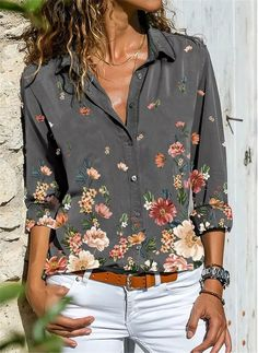 Style Casual, Casual Tops, Casual Shirts, Chemise Fashion, Women's Fashion, Fashion Online, Top Gris, Plus Size Shirts, Latest Fashion For Women