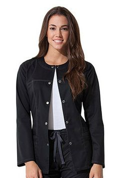 7fb403bf66e Style Code: A Junior fit crew neck warm-up jacket that features multi-needle  contrast topstitching on the princess seams, yoke, and pockets.