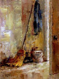 """""""Straw Broom"""" - Original Fine Art for Sale - © Julie Ford Oliver"""