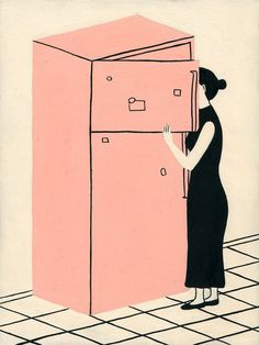 Image of Refrigerator Original Painting