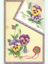 Pre-Linen BEAUTIFUL PURPLE AND YELLOW PANSY FLOWERS k4568