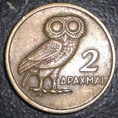 Symbol of Greece Greek 2 Drachmai Owl Bird Animal Coin Ancient Greek Art, Ancient Greece, Hobo Nickel, Owl Bird, World Coins, Rare Coins, Coin Collecting, Birds, Antiquities