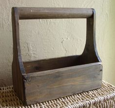 Old Wooden Tool Box Wood Garden Caddy Decorative Trough with Handle. $16.50, via Etsy.