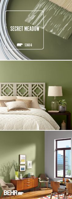 If you're searching for a calming wall color for your home, look no further th. If you're searching for a calming wall color for your home, look no further than Secret Meadow by Behr Paint. Behr Paint Colors, Green Paint Colors, Green Wall Color, Brick Colors, Exterior Paint Colors For House, Paint Colors For Home, Paint Colours For Bedrooms, Calming Bedroom Colors, Bedroom Vintage