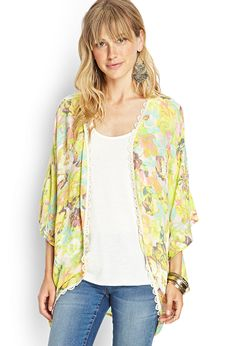 Lace-Trim Floral Kimono | #FOREVER21 I  love this kimono... got the last one at my local F21.