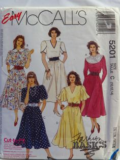 Long Sleeves or Short Elbow Length Sleeves. Jewel or V Neck with Bertha Collar, Contrast or Choir / Peter Pan Collar Variations. McCalls 5201 Bust to 34 UNCUT by TheOldLeaf on Etsy Easy Sewing Patterns, Mccalls Sewing Patterns, Vintage Sewing Patterns, Dress Patterns, Sewing Ideas, Sewing Tips, Gored Skirt, Dress Skirt, Vintage Outfits