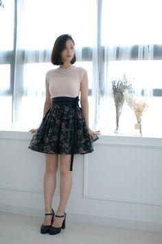 korea traditional clothes, 잔꽃미니허리치마,