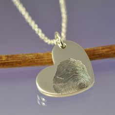 Great idea for push gift of baby fingerprint necklace! Fingerprint Heart, Fingerprint Necklace, Push Gifts, Push Presents, Silver Gifts, Hand Engraving, Beautiful Words, Sterling Silver Pendants, Heart Shapes