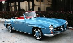THE D R E A M CAR . hands down, my precious baby. 1960 Mercedes-Benz 190SL Roadster. In gorgeous Light Blue (DB334) over a red leather interior and navy soft top. My favorite combination.