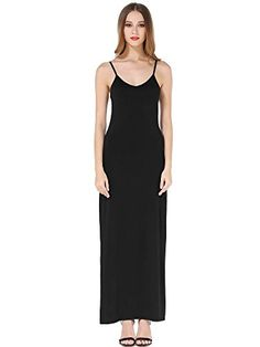 KIRA Womens Adjustable Spaghetti Straps Long Cami Slip Dress Large Black *** You can find out more details at the link of the image.