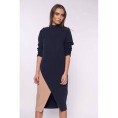Saash.ro - Rochie bleumarin din bumbac pieptanat Romanian designer dress