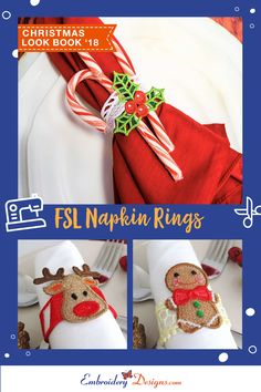 View these cute FSL Napkin Rings on page 9 of our Christmas Look Book '18 at embroiderydesigns.com Christmas Napkin Rings, Christmas Napkins, Christmas Embroidery, Embroidery Designs, Book, Cute, Projects, Log Projects, Blue Prints