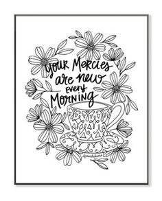 Your Mercies Are New Every Morning, Coloring Wall Art, Large