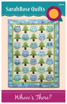 Whooo's There  Owl Quilt Pattern  Machine por SarahRoseQuilts
