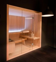 Cozy Wooden Box Sauna Design