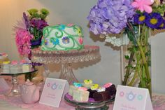 Sweet Tea Party Birthday - Cute idea.  Love the cake, but especially love the petit fours!