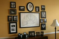 family wall.  someday when i have a home with my husband i want to have a family wall with black and white photos of our ancestors along with a framed family tree or genealogy.