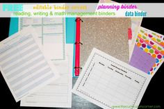 AMAZING find teacher friends!!! Links to FREE planning, reading, math, data binders plus TONS of editable binder covers for your teacher planner! Lots and lots of styles FREE from The Curriculum Corner